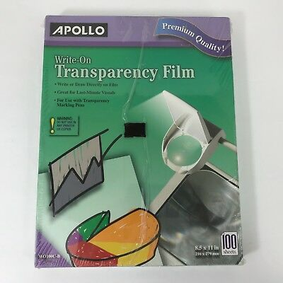 Apollo Write-On Transparency Film  8.5 x 11 In. Clear, 100 Sheets WO100C-B
