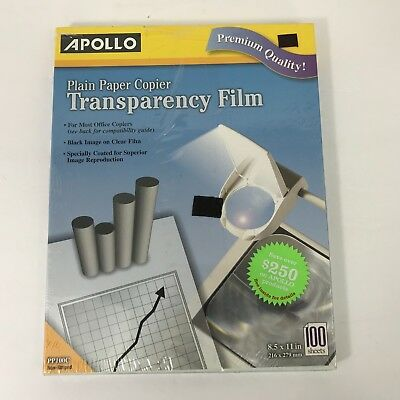 Apollo Plain Paper Copier Transparency Film Non Striped 100 Sheets 8.5x11 PP100C