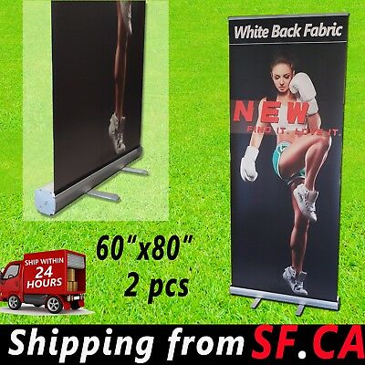 "60""x 80"",2 PACK,Retractable Roll Up Banner Stand Trade Show Pop Up Display Stand"