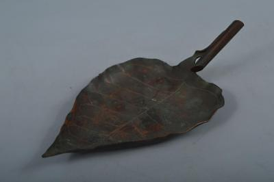 M9876: Japanese Old Copper Leaf-shaped Sencha Kyusu TEAPOT TRAY/stand