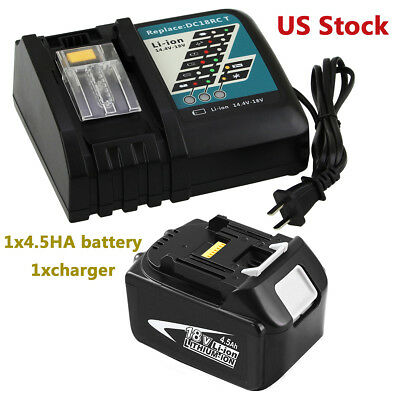 1x4500mAH Replace for Makita 18v Battery BL1845+1xfor Makita DC18RC Fast Charger