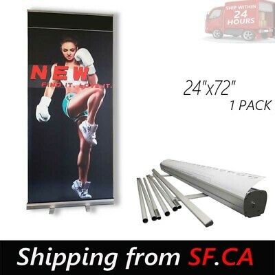 "24"" x 72"" Standard Retractable Roll Up Pop Up Trade Show Display Banner Stand"