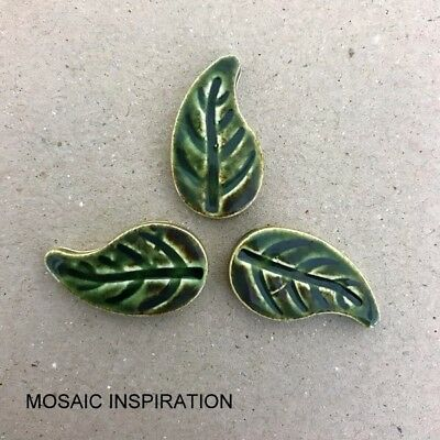 CERAMIC LEAVES (x3) - 25 x 14mm ~ Mosaic Inserts, Art, Craft Supplies