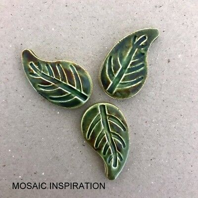 CERAMIC LEAVES (x3) - 30 x 18mm ~ Mosaic Inserts, Art, Craft Supplies