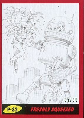Mars Attacks The Revenge Red [99] Pencil Art Base Card P-32 Freshly Squeezed