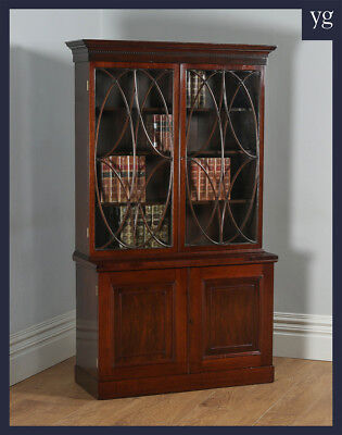 Antique English Georgian Style Mahogany Glazed Bookcase Cupboard Display Cabinet