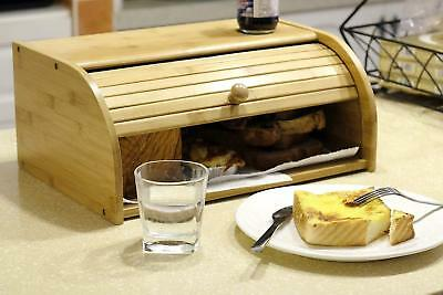 large Bamboo BREAD BOX Storage Bin, Kitchen Cake Food Container holder wood