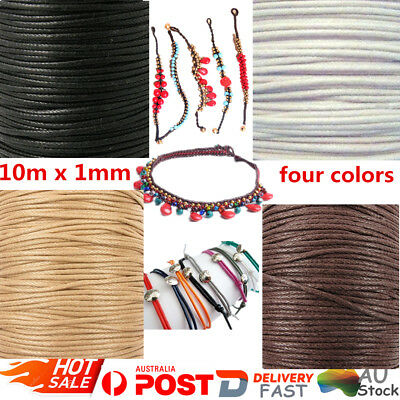 10 Meters Waxed Beading Rope Cord Thread 1mm Jewelry Making Bracelet Necklace AU