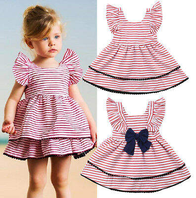 US Seller Casual Kids Baby Girls Back Bowknot Layered Stripe Party Dress Clothes