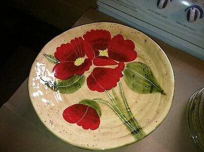AMBIANCE FLEUR RUSTIQUE Set of (2) Dinner Plates-Caliente Red Poppy ...