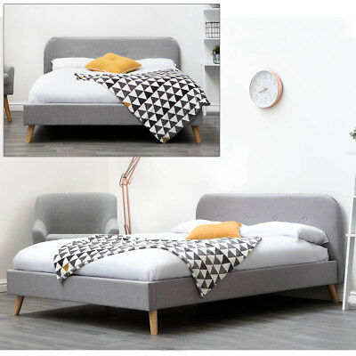 Stylish Modern Grey Fabric Upholstered Low Bed Frame Double King Size Bed Frame