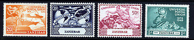 ZANZIBAR 1949 The U.P.U. 75th. Anniversary Set SG 335 to SG 338 MINT