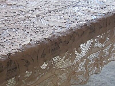 Antique Ecru Burano Italian Point De Venise Table Cloth Needlelace & 6 Napkins