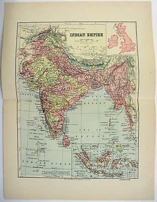 Original 1895 Map of The Indian Empire by W & A.K. Johnston