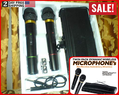 Professional Wireless Dynamic Microphone set of 2 for Karaoke and PA Speakers