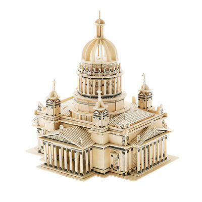 Church Castle Building Model Jigsaw 3D Wood Puzzle DIY Educational Model Toy