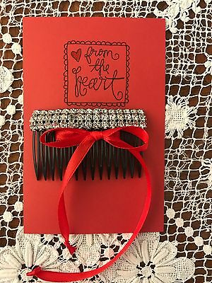 Vintage 3 Row Rhinestones with Brand New Hair Comb  Very Bright  Color: Black
