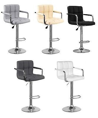 2x Cuban & Arms Chrome Gas Lift Swivel Faux Leather Kitchen Breakfast Bar Stool