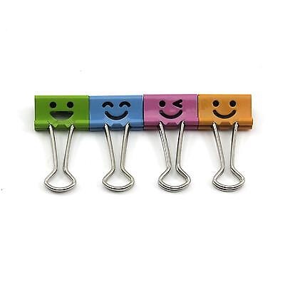 5 pcs Cartoon Smile Face Office Home File Paper Metal Binder Clips Ticket Holder