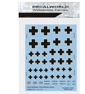 Decals Wwi German Thick Beam Cross Fokker Dr.1 Sc 1/144-1/72  Calcas