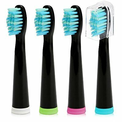 Fairywill Sonic Electric Toothbrush Replacement Heads Black x 4 Soft Bristle