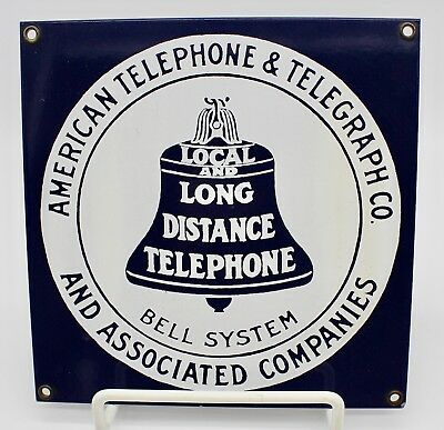 Vintage Navy & White At&t Plaque Sign In Very Good Condition}