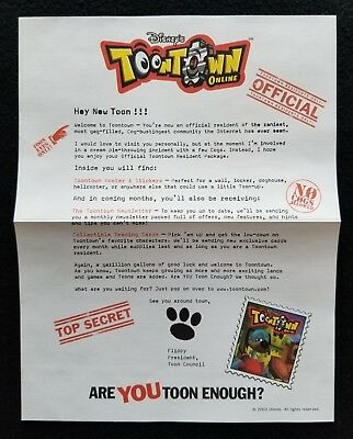 Disney Toontown Online 2005 Toon Welcome Kit Letter/Cog Poster/Stickers