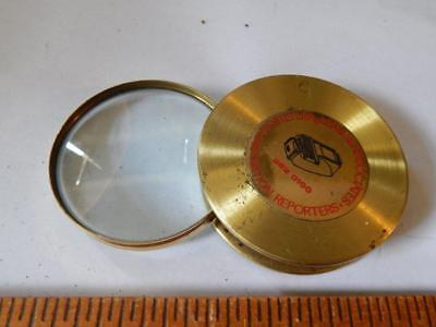 Vintage, Large, Brass Hand Held Magnifying Glass, Deposition Reporters, Nice!