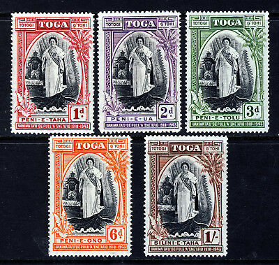 TONGA 1944 Complete Queen Salote Silver Jubilee Set SG 83 to SG 87 MINT