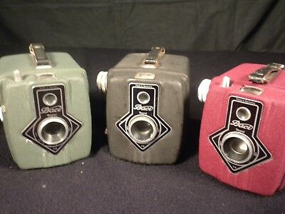Scarce Three Colored Daci Royal Box Cameras