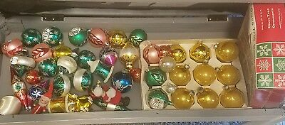 Lot 40 Vintage Christmas Ornaments Shiny Brite Indent Figures Bell Mercury Glass