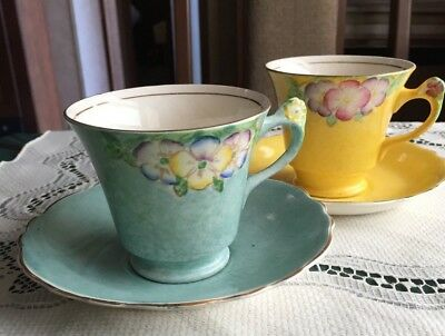 Pair of James Kent Art Deco Floral Handled Cups and Saucers - Green and Yellow