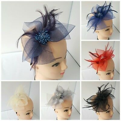 Women Race Feather Flower Fascinator Headband Hat Wedding Prom Day Royal Ascot