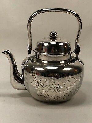 Beautiful Antique Chinese Export Japanese Pure Silver Tea Pot with Flowers