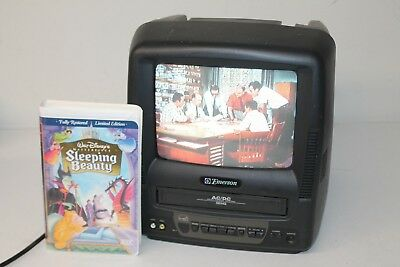 """Emerson 9"""" Color TV VCR Combo AC/DC EWC0901 Portable With Sleeping Beauty VHS"""