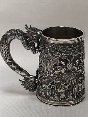 Gorgeous MUSEUM QUALITY 19c Chinese Export Small Cup Dragon Handle People SIGNED