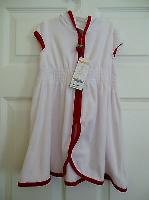 Gymboree Swim Suit Cover Up Hooded 2T Zip Front Zipper Red White Dress Short