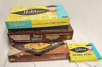 Lot of 3 '70s Vintage Yahtzee Board Games  - Challenge, Triple and original