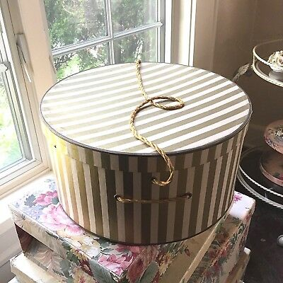 Vintage HATBOX Hat Box Gold Stripe Rope Cord Striped 1950's