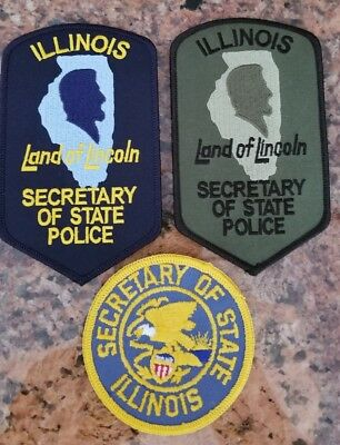 Rare Illinois Secretary of State Police Patch set 3 Patches OD Green Swat