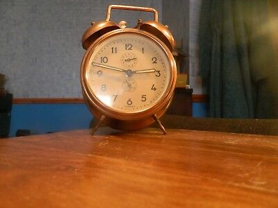 copper & brass bell alarm clock