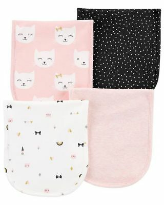 New Carter's 4 Pack Girls Burp Clothes Kitty Cat Happy Faces NWT Pinks Bows