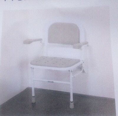 PROCARE Wall MOUNTED Fold Away shower seat - legs, padded seat back arms REDUCED