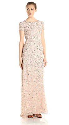 495bab8ab609a Adrianna Papell Women's Petite Short-Sleeve All Over Sequin Blush Gown Size  14P