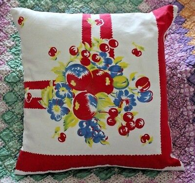 Vintage Fruit Design Mid Century Tablecloth Pillow with 16 inch Insert