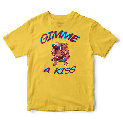 Gimme A Kiss Dog With Sunglasses - Cotton Funny  Summer Holiday T-Shirt Tee Top