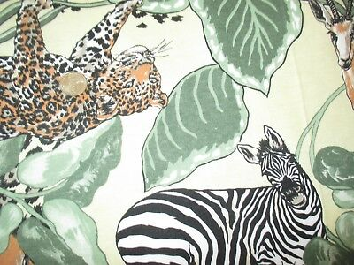 SAFARI Vintage WILD ANIMALS LEAVES On YELLOW 1980's COTTON KNIT Fabric-over 1 yd