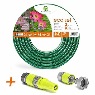 """1/2"""" 15M Reinforced Garden Hose Pipe Spray Watering Nozzle Fittings Set Included"""