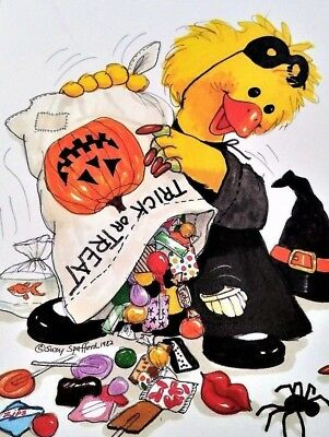 VTG Greeting Card Unused HALLOWEEN Suzy's Zoo Suzy Ducken Trick or Treat Candy