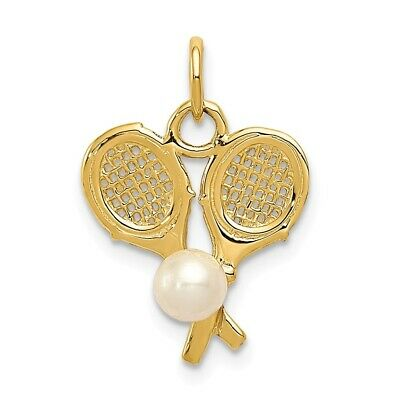 14K Yellow Or White Gold Tennis Racquets Cultured Pearl Charm